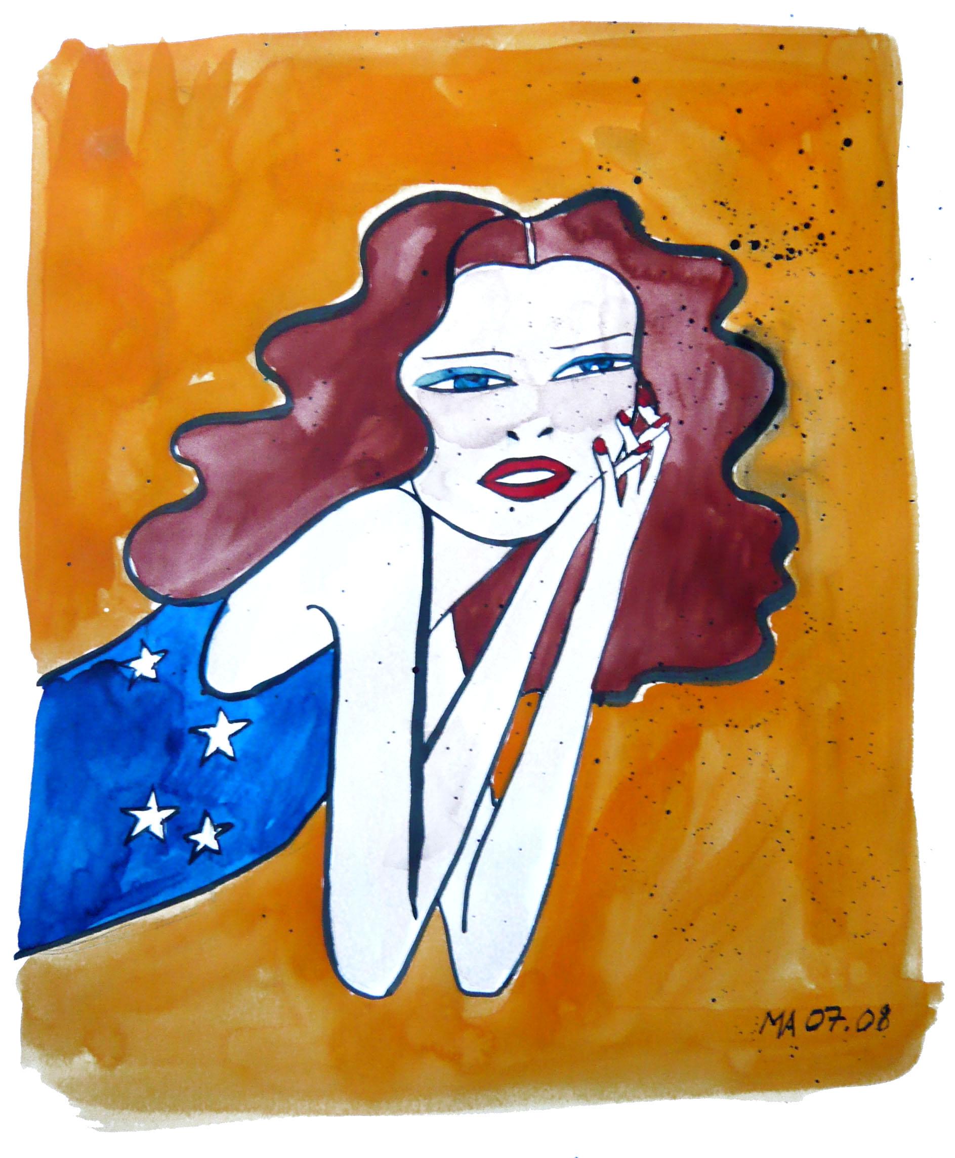 Encre de chine+ aquarelle sur papier 31 X 40,5 cm / 2008