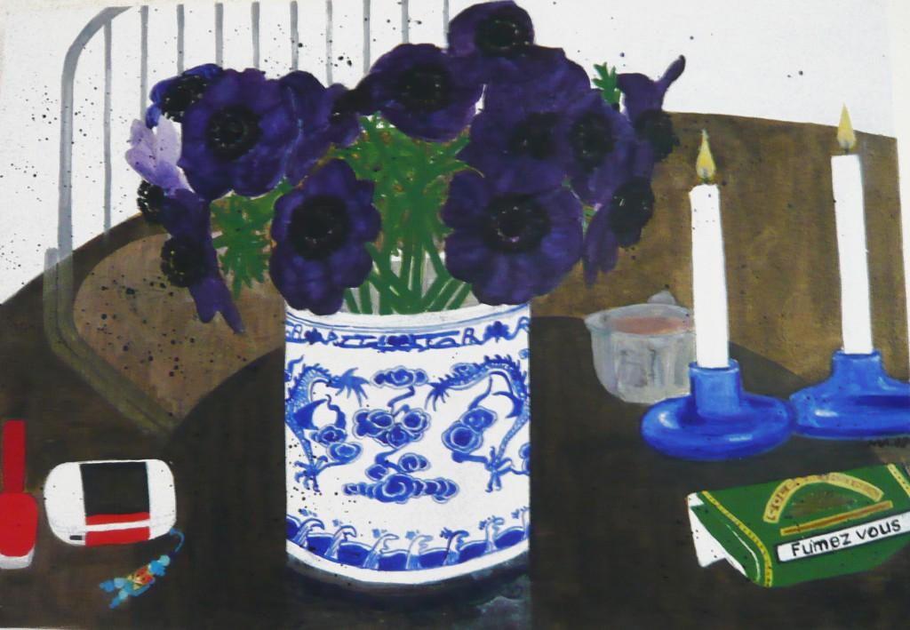 Anémones /  huile sur toile 55 x 36 cm / 2006