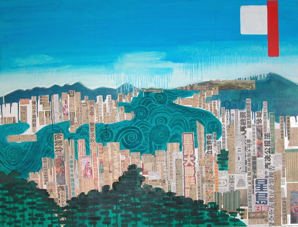 Hong Kong / huile + collage sur toile 89 x 114cm / 2006